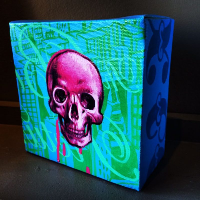 Juan Carlos Noria aka DIXON (Barcelona, Spain), Skull  (full view), Acrylic & Spray Paint on Canvas, 2005, 6 width x 6 depth x 3  inches (thick). Reduced to $220