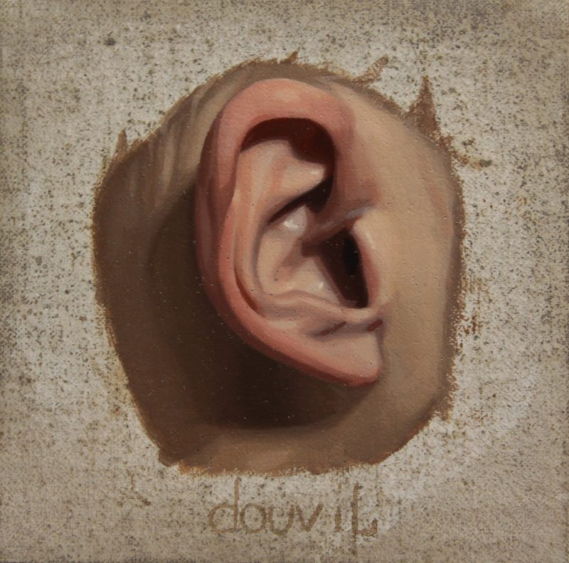 Martin Douvil (Montreal, Canada), Right Ear, Oil on wood panel, 3 x 3 inches, 2011, Collection of La Petite Mort Gallery.