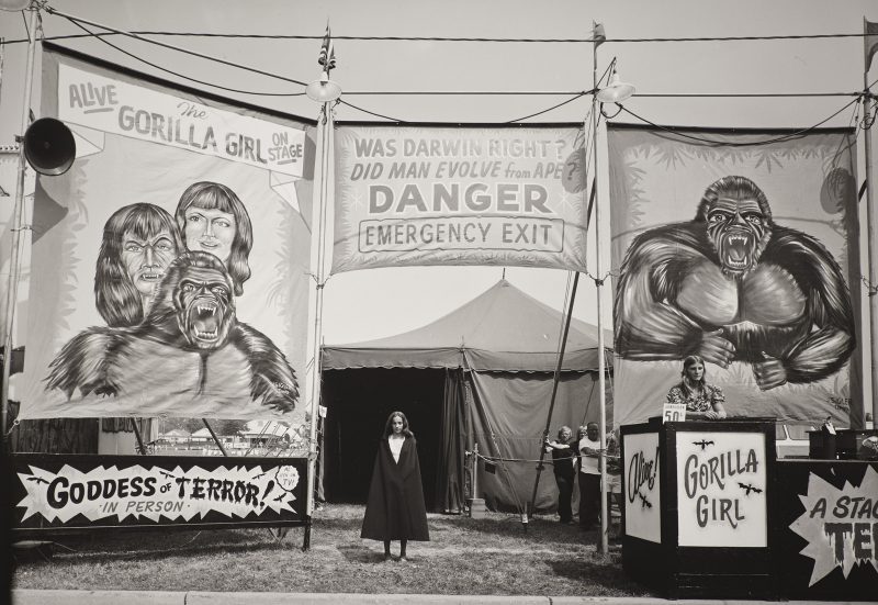 Randal Levenson (Miami, USA), In Search of the Monkey Girl, Count Nicholas' Gorilla Show, Gooding Amusements, Maumee, Ohio, 1974. Vintage Print from Original Negative on Portriga Rapid 111 Double Weight Glossy Paper.