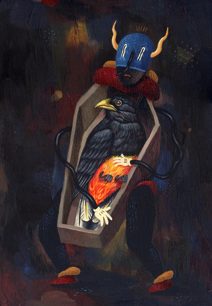 Saddo (Bucharest, Romania), My Body is a Coffin, Acrylic on wood , 2013, 22 x 32 cm, $550