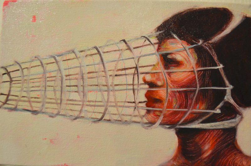 Aleks Bartosik (Toronto, Canada), Chromophobia (2013), Acrylic and oil on canvas, 12.25 x 8 inches, $600