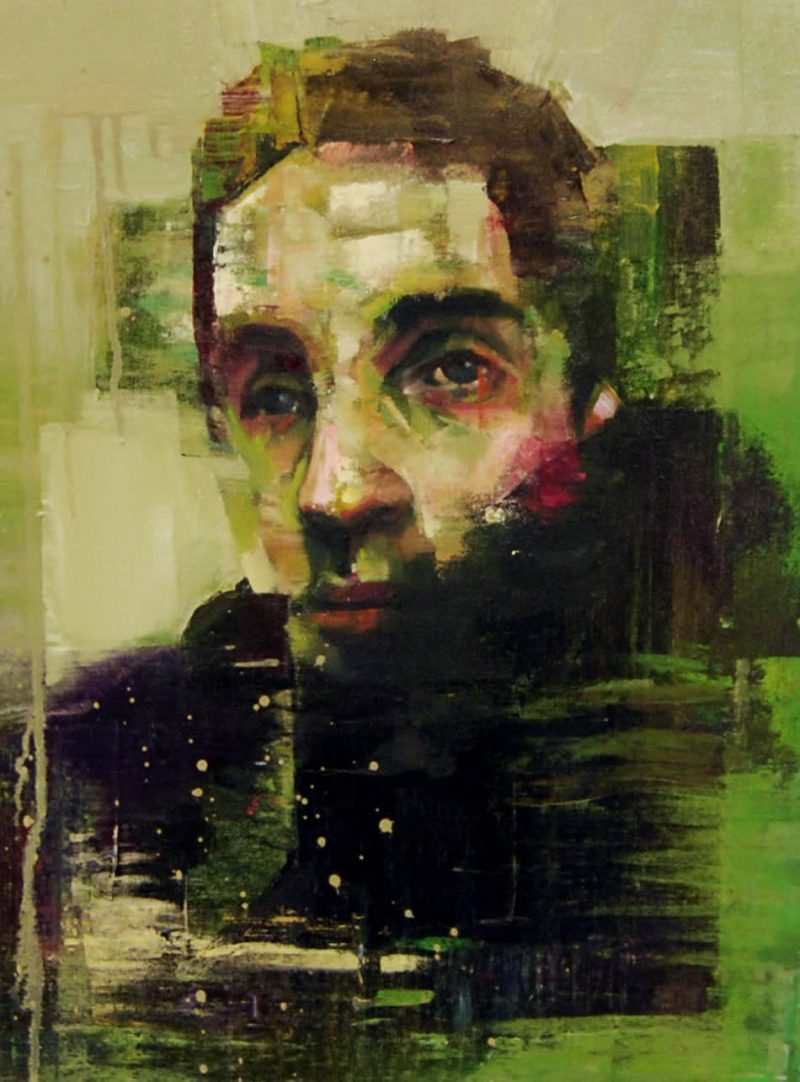 Smallest Heart's Desire (Self-Portrait), 50cm x 35cm, Oil on canvas with spray paint, 2013, SOLD