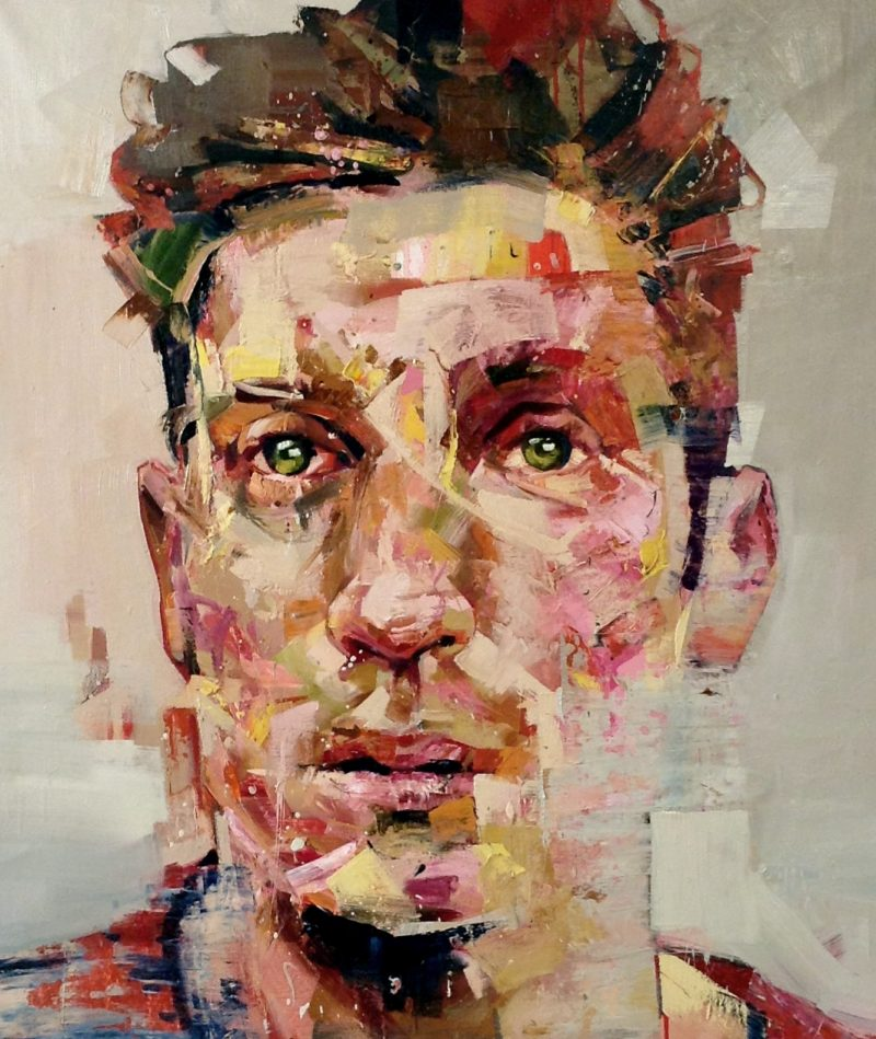 Metonym (Tom), 120 x 105cm, oil on canvas with spray paint, 2013, SOLD