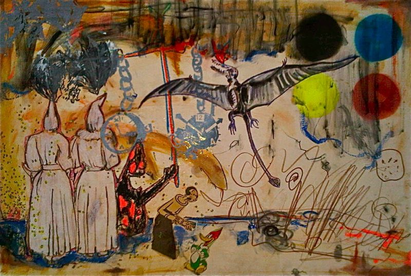 TWO GHOSTS, 22 X 30 inches, Mixed Media on Paper, 2011, $800