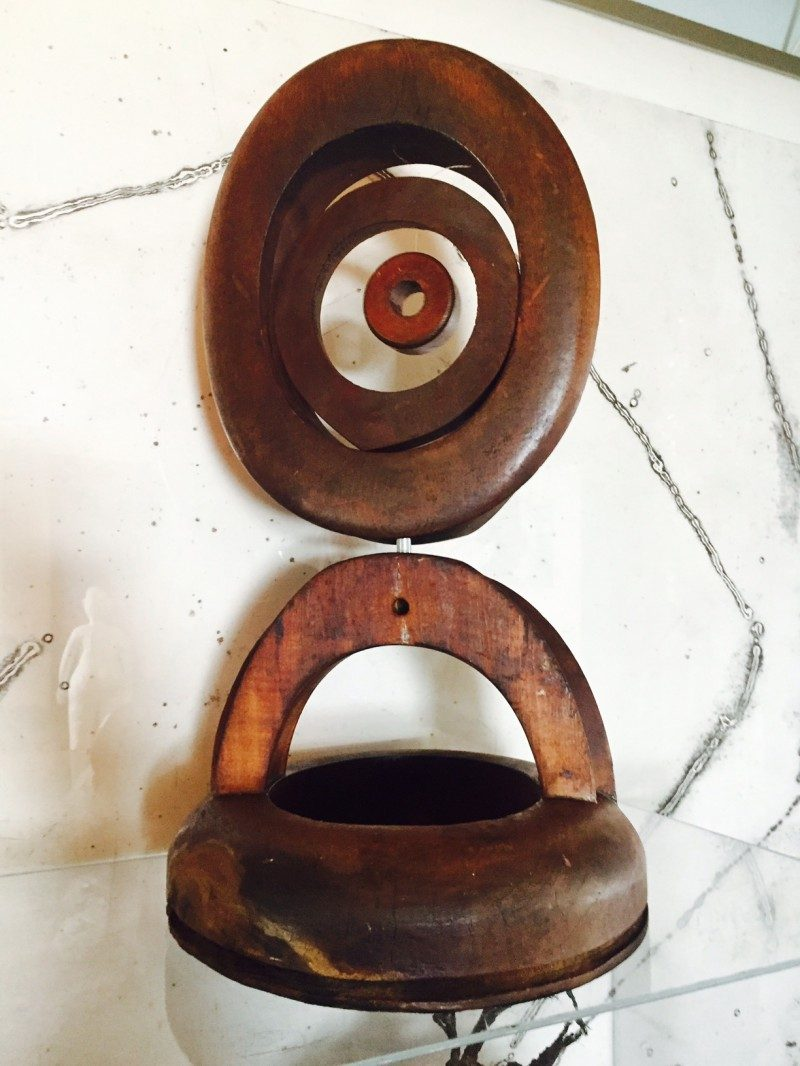'Top Hat Pendulum' Sculpture, Arthur Price 1970's. 'Top Hat Pendulum' 1970's. Arthur 'Art' Price, Found Wood Antique Hat Forms. 22 height x 13 width x 12 depth inches. One of a kind sculpture. Artist named stamped. Rare. $3500.