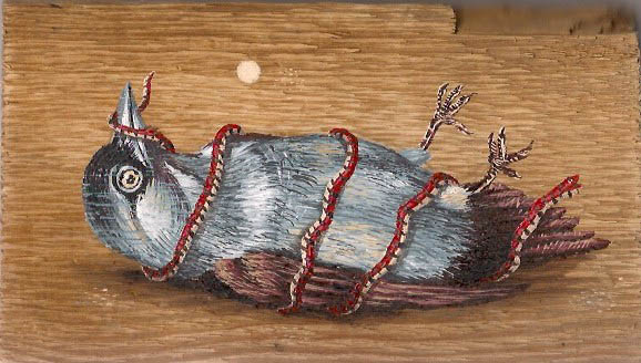 Bird & Snake, Acrylic on Found Wood, 20 x 12cm, 2013, $150, SOLD
