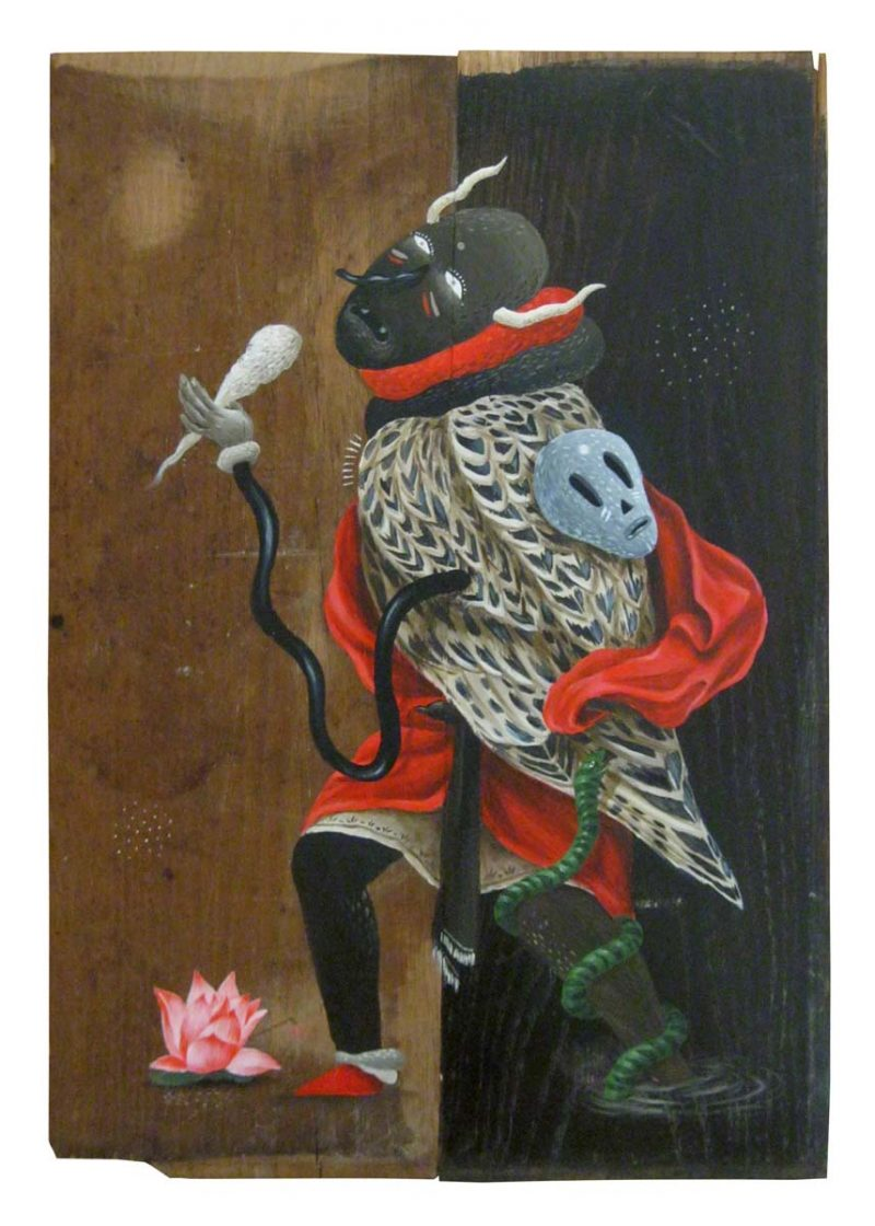 The Garden of Good and Evil II, acrylics on found wood / 2013 / 33 x 48 cm, $650 / SOLD