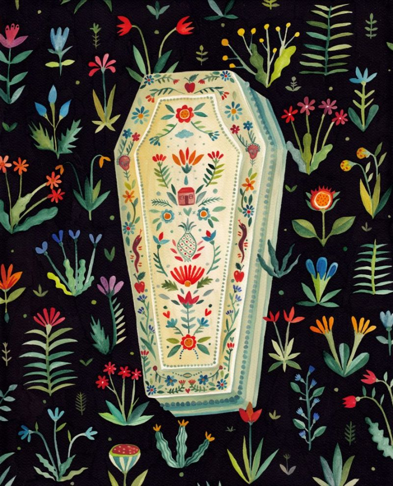 Aitch - Coffin / 40 x 50 cm / watercolors on paper / 2014 / $650