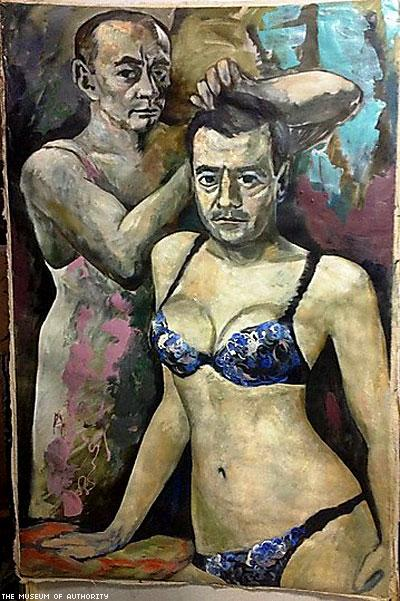 Artist Flees Russia After Cops Shut Down Show With Satirical, Homoerotic Putin Paintings