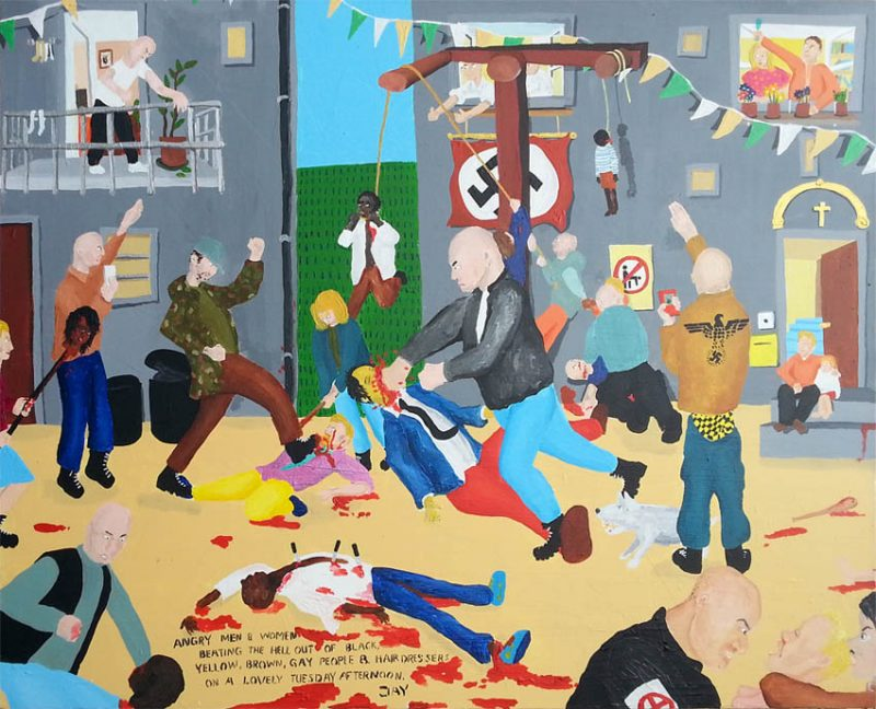 Angry men & women beating the hell out of black, yellow, brown, gay people & hairdressers on a lovely Tuesday afternoon, 80cm x 100cm.  http://jayrechsteiner.com/home.htm