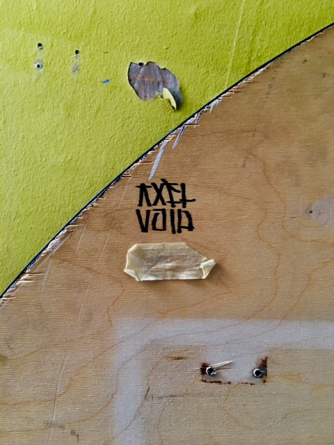 Alejandro Dorda Mevs aka Axel Void (Berlin, Germany), 'Nothing New for Trash Like You',  Acrylic applied with syringe on found wooden table, 60 inches in circumference.