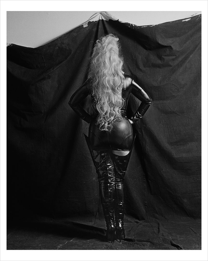 Marcus Leatherdale (New York, USA), Dianne Brill / Woman in Rubber, Digital Photograph, Special Edition for La Petite Mort Gallery, 13 x 19 inches, Print image 10 x 13 inches, Photographed in the 1980's, Printed 2014, Signed on verso with letter of confirmation by the artist. Edition of 50. $500 each.