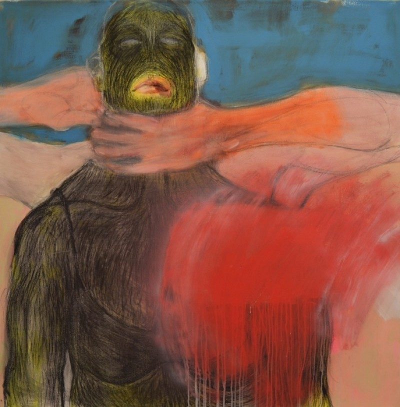 Aleks Bartosik (Toronto, Canada), She Does Not Want to Ride the Pain Anymore, Acrylic, Conté, Pencil, & Oil on Canvas, 48 x 48 inches, 2011, Gallery Collection. $3500 on loan.