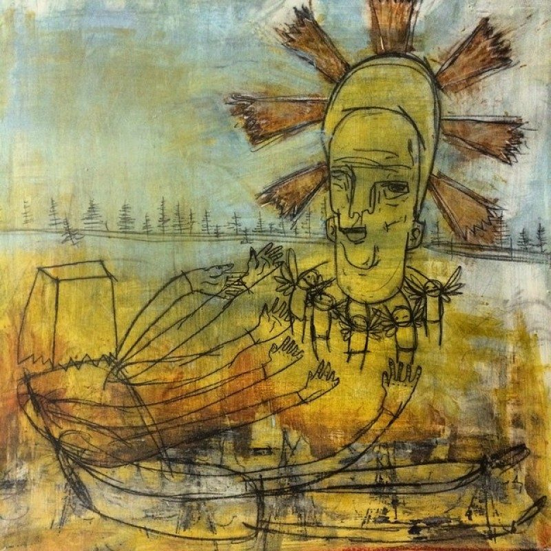 Hayden Menzies (Toronto, Canada), Untitled #2, Oil, Acrylic & Charcoal on Word Panel, 24 x 24 inches. $1450 On Loan.