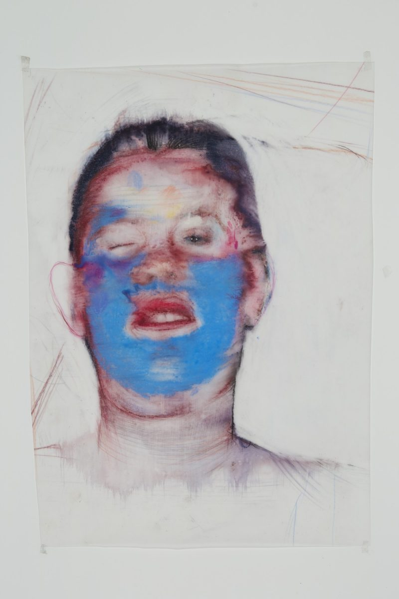 Geoff Chadsey (New York, USA), Untitled #3 (blue faced wink), 16.5 x 11.5 inches / 42 x 29 cm. Watercolor pencil, crayon on mylar (with occasional latex spray paint), 2014, US$1000 / / 800 Euros.