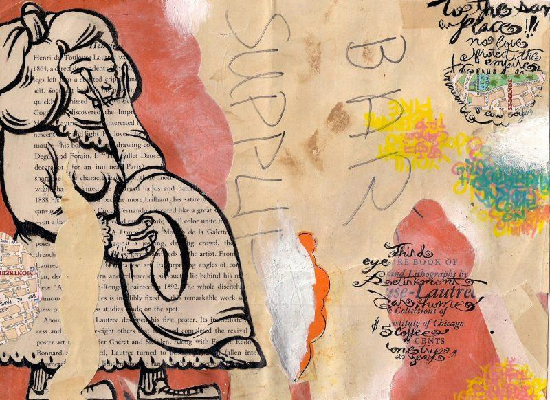 Juan Carlos Noria aka Royal (Barcelona, Spain), Third Eye, Collage, Ink, Watercolor, Spray Paint, Marker, Vintage publication, 2004, $300