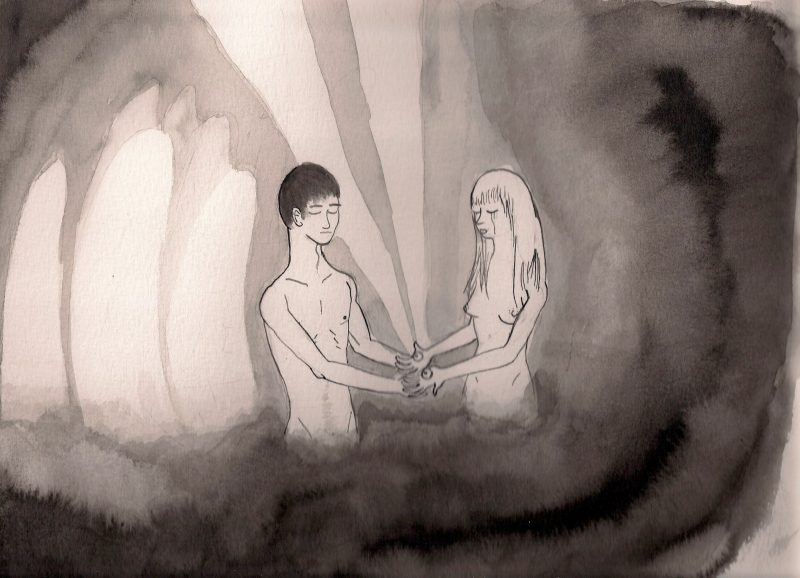 Dave Maat, (Tokyo, Japan), Adam & Eve, 2008, Watercolor & Ink on Paper, 9 x 12 inches, $60.
