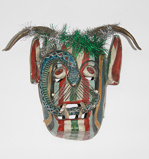 Siete Vicios / Seven Vices, Devil, Chilapa, Guerrero	, Polychrome carved wood, goat horns, glitter, Circa 1960, 33 cm long x 40.5 cm wide