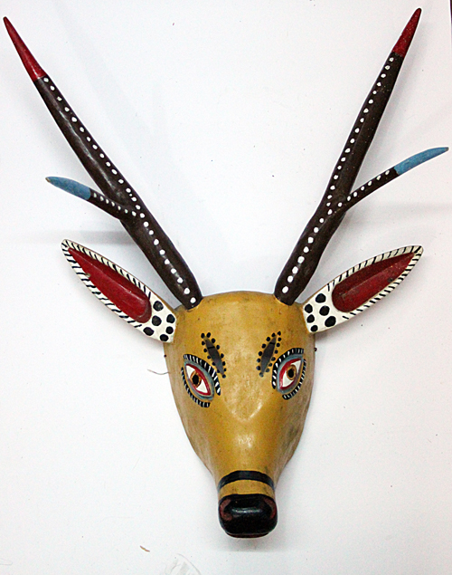 Carnaval / Carnival, Deer, Carpinteros, Hidalgo, Polychrome carved wood, Circa 1990, 65 cm long x 50 cm wide