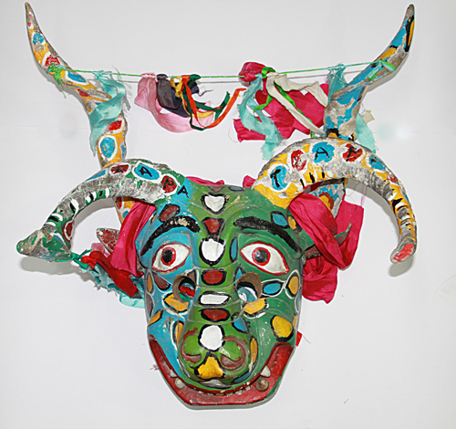 Diablos / Devils, Devil, Tlapa, Guerrero, Polychrome carved wood, goat horns, ribbons, Circa 1970, 61 cm long x 60 cm wide