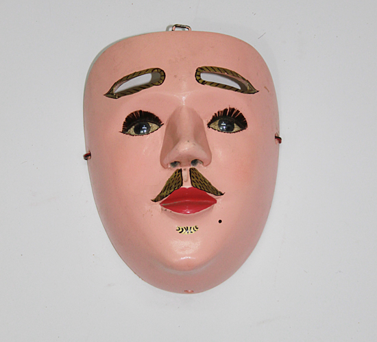 Carnaval / Carnival, Mampo, Ocozocuautla (Coita), Chiapas, Carved wood, polychrome, flesh-coloured, glass eyes, false eyelashes, 16 cm long x 12 cm wide, Circa 1990