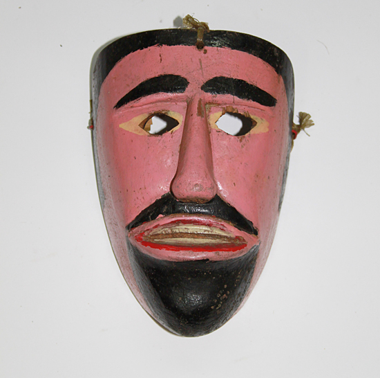 Carnaval / Carnival, Matachín, Huejutla, Hidalgo, Polychrome carved wood, Circa 1980, 21 cm long x 14 cm wide