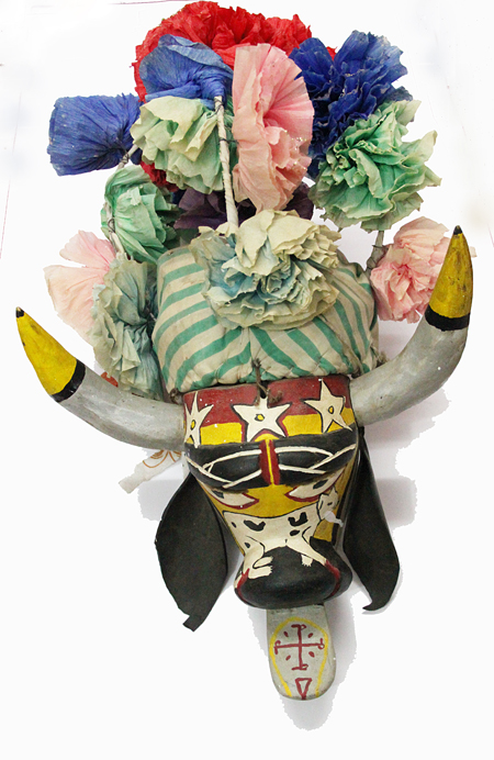 Carnaval / Carnival, Little Bull, Alto Lucero, Veracruz, Polychrome carved wood, bull horns, oilcloth ears, headdress of cloth and tissue paper flowers, Circa 1970, 60 cm high x 36 cm wide