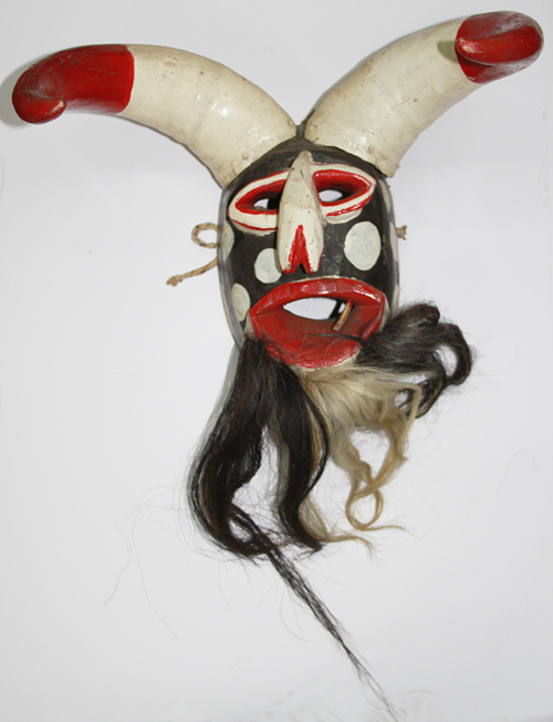 Semana Santa / Holy Week, Pharisee, Tanlajas, San Luis Potosí, Polychrome carved wood, bull horns, horsehair, Circa 1960, 69 cm high x 43 cm wide