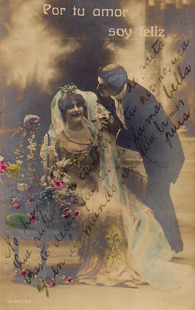 Por tu amor, soy feliz, Vintage Silver Gelatin Postcard (Buenos Aires), Produzione Italiana,  Spanish text hand written on recto and verso, 3.5 x 5.5 inches, circa 1900s, $25