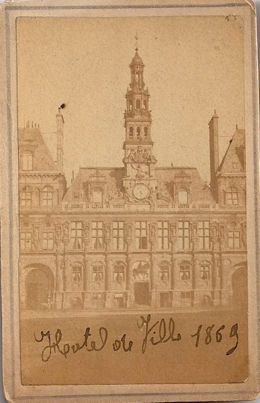 Antique /Authentic Photograph, Paris, France, 'Hotel de Ville, 1869' (written by hand on front of image), 2.5 x 4 inches, Rare, Printed on thick photo stock, $35.
