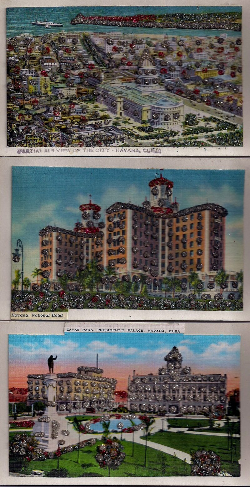 Havana Cuba, Set of 3 Vintage Postcards with tons of glitter as highlights, 5.5 x 3.5 inches each, $25 for the set.