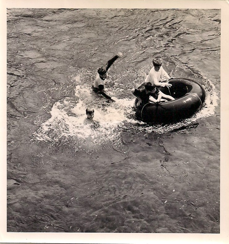 Anonymous, Four Boys and a Tube, Silver Gelatin Photograph, 3.75 x 4 inches. $45.
