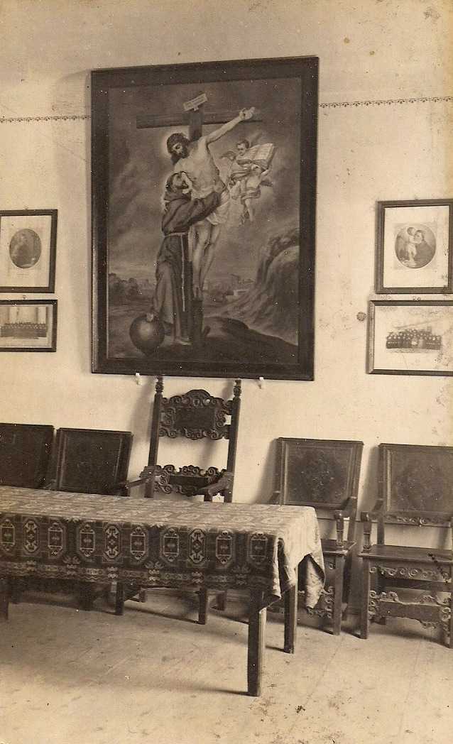 Anonymous, Vintage Photograph/Postcard, Religious Paintings Behind Table, 5.25 x 3.25 inches. $15.