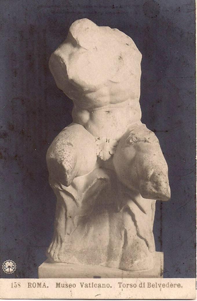 Anonymous, Vintage Italian Postcard, The Belvedere Torso,  Vatican Museum, Rome. 5.25 x 3 inches. $10.