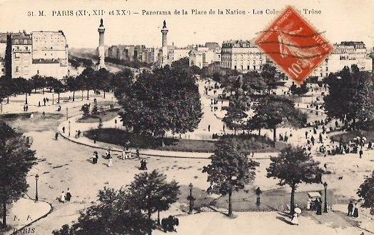 Panorama de la Place de la Nation, Paris, Vintage Postcard, Approx 3.5 x 5.5 inches, 1950's. $5