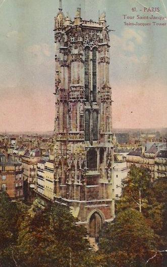 Tour Saint- Jacques, Paris, Vintage Postcard, Approx 3.5 x 5.5 inches, 1950's. $15 each.