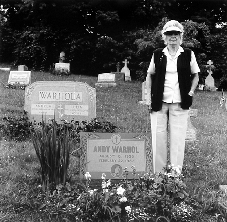 Victor Carnuccio (New York), Sue Brown at Andy Warhol's Grave, Bethal Park Pa, 1992, Silver gelatin print. Edition of 10, Studio stamp by artist on verso, 5 X 7 inches, $150.