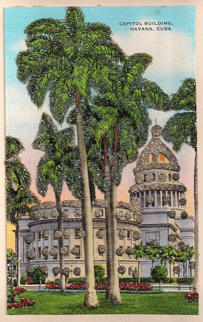 Anonymous Cuban Postcard with glitter added to palm trees, Titled 'Capital Buildings, Havana, Cuba), circa 1940's, 3.5 x 5.5 inches, $20.