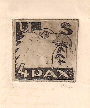 Small Lithograph, 'US. 4 PAX', Unknown American Artist, signed, 2 x 2 inches (needs to be trimmed to removed damaged edges), $15.