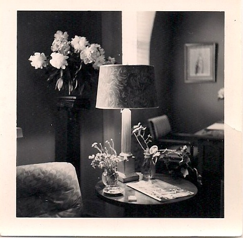 Anonymous, Figure Behind Table with Flowers, Candles and Bird, Digital 8x0 inches print made from Silver Gelatin Photograph, Originally 2.5 x 2.25 inches, $45.