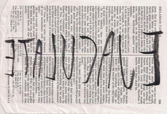 Anonymous, Ejaculate, Reversed Hand Writing on Bible Page, Year Unknown, $65.