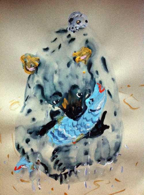 Katarina Janeckova Walshe (Bratislavia), 'So Many Fish, So Little Time'. Ink, Acrylic & Gold Paint on Paper, 27 x 39 inches, 2014, $600.