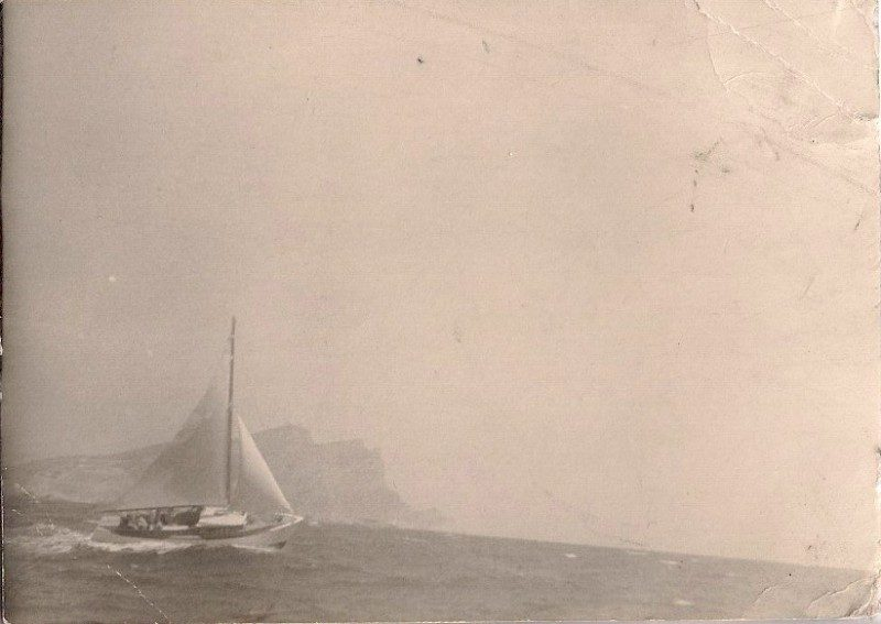 Vintage Silver Gelatin Photograph, 'Sailboat', Approx. 1940's. Acquired in Morocco. 3 x 4 inches. Printed on 8x10 inches mat paper, $45.