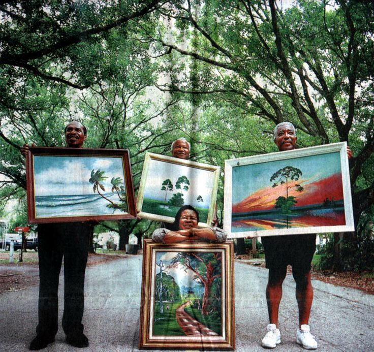 Some of the original Florida Highwaymen. Left to right: Willie Reagan, Isaac Knight, Rodney Demps, Mary Ann Carroll in foreground. Unknown Photographer.