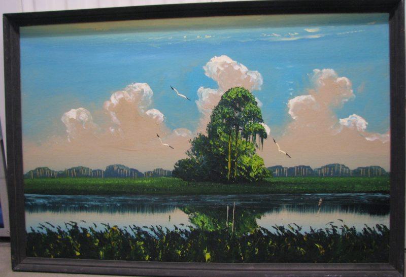 Al Black, (Born 1947), Untitled #6, Oil On Upson Board, 61x92cm (Image), 70x101cm (Framed), 1972, Signed.