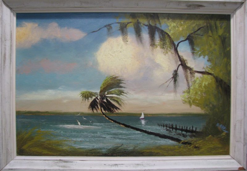 Alfred Hair (1941-1970), Indian River Sail, (Featured in the Movie 'Hoot'), Oil On Upson Board, 61x92cm (Image), 71x102cm, (Framed), 1966, Signed.