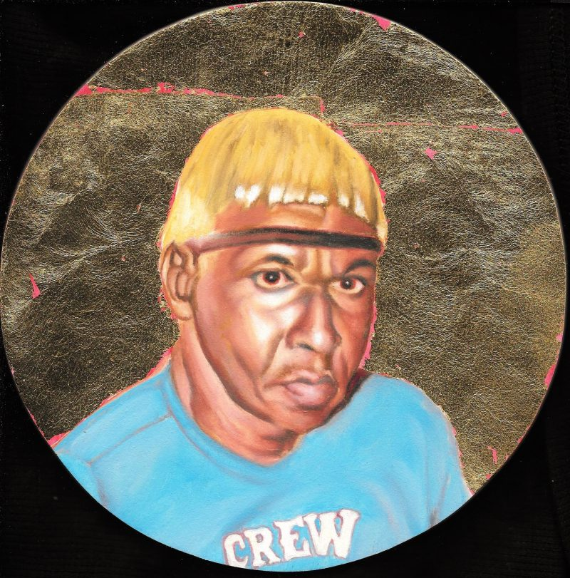 Charles Wheeler, Florida Highwaymen custom painted by Peter Shmelzer (Ottawa, Canada). Oil & gold leaf on wood panel, 8 inch in diameter, 2016.