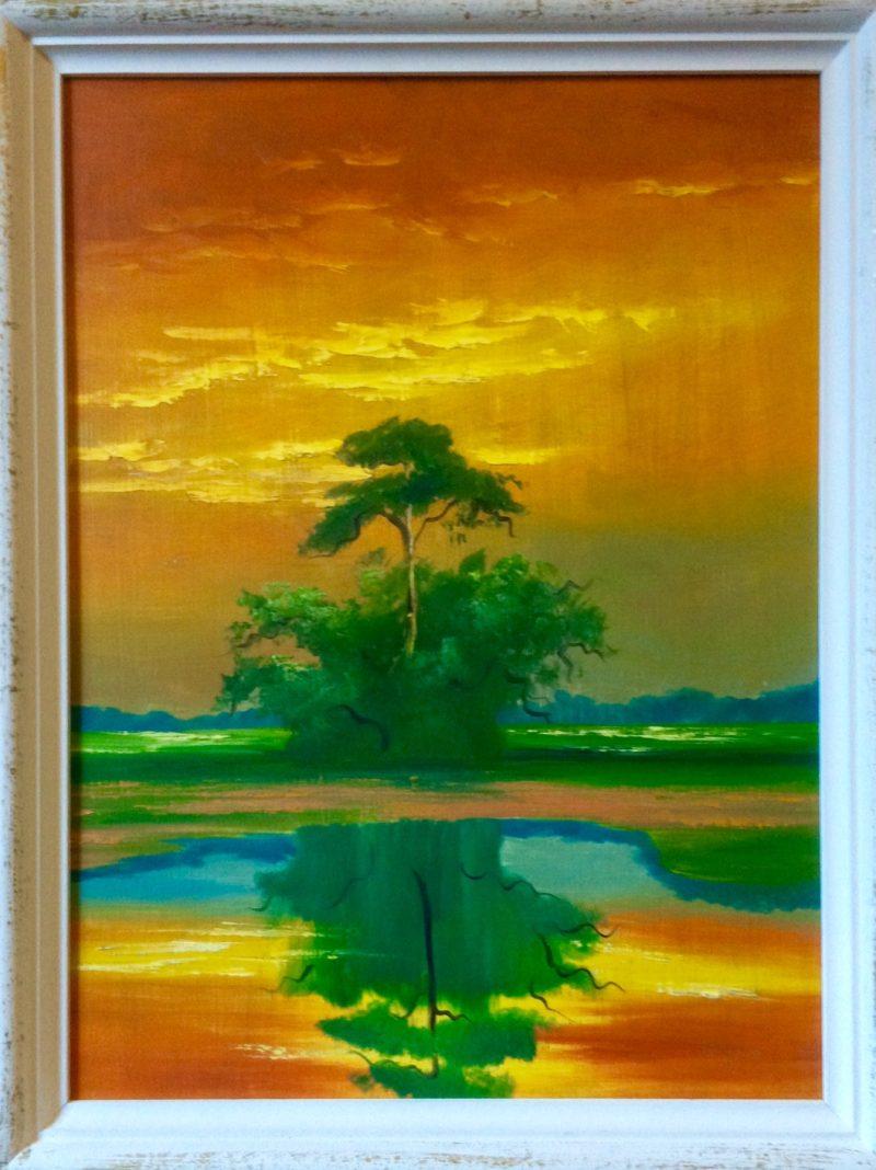 Mary Ann Carroll (1940), Sunset Savanah, Oil On Upson Board, 53x70cm, 1972, Signed, Private Collection: Sheryl Bennett-Wilson (Ottawa)