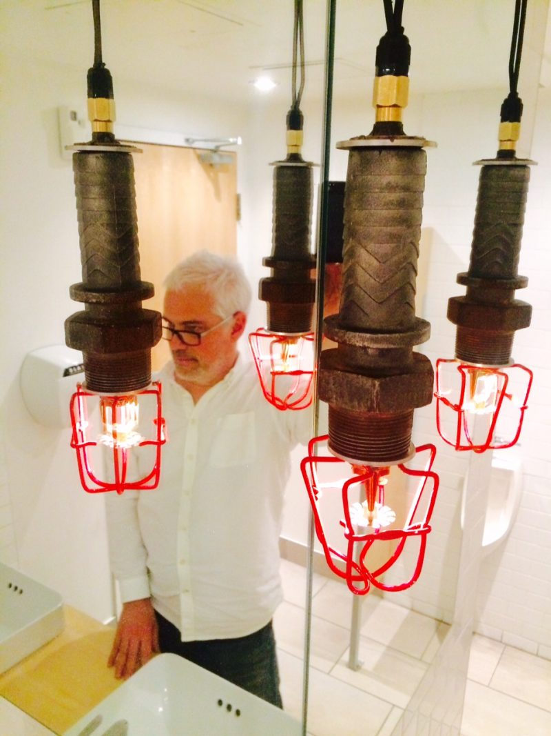 Lighting Design by Pierre Lachance (Montreal, Canada). Customized industrial lamp with antique sprinkler. Recycled vintage porcelain & plumbing parts. Electrical supply: 12 volt DC Transformer, G4 12 volt Bulb
