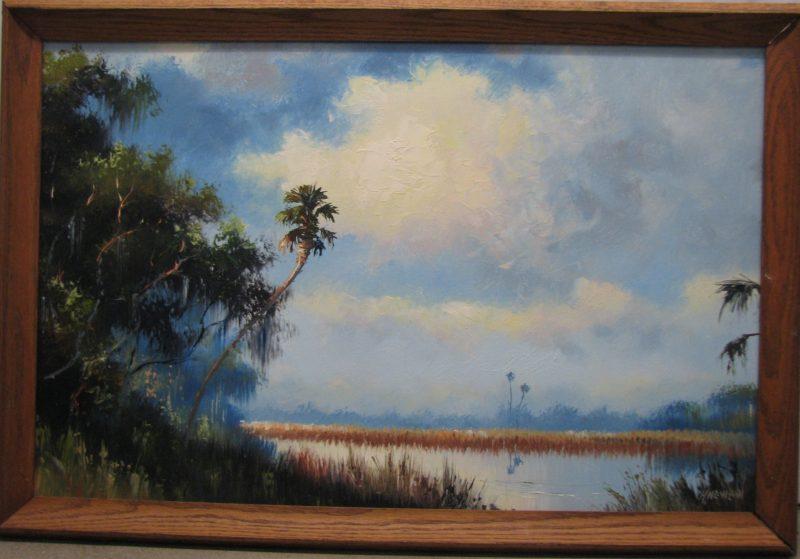 Harold Newton (1934-1994), Distant Palms, Oil on Masonite, 51x61cm (Image), 60x70cm (Framed), 1985, Signed.
